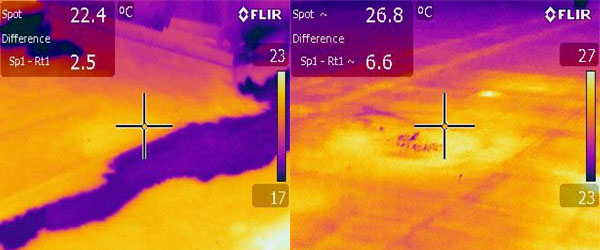 Infrared Images of Roof Leaks