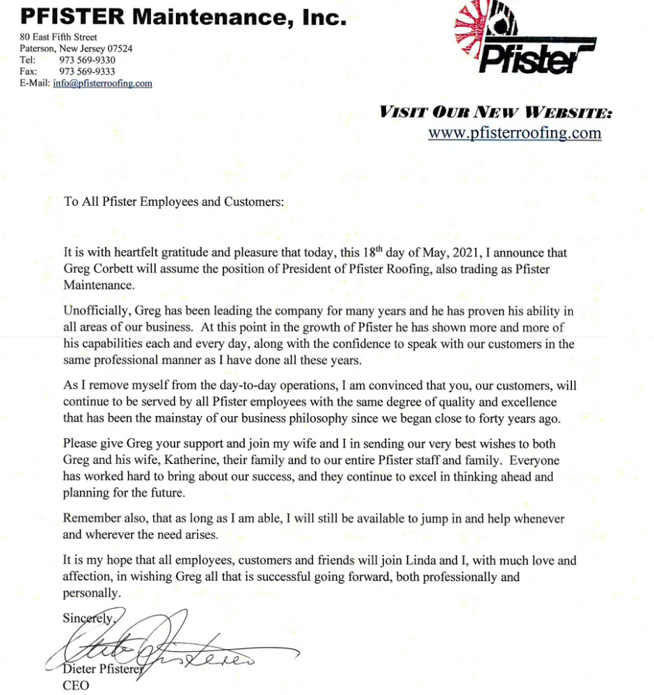pfister roofing announcement